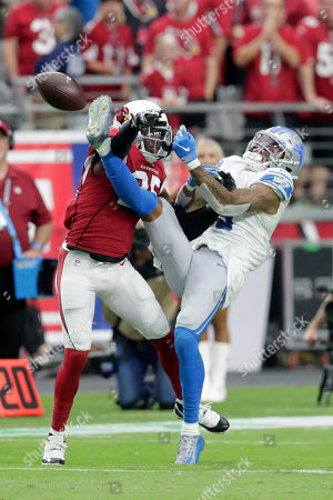 Stock Picture of Detroit Lions wide receiver Kenny Golladay (19) and the Arizona Cardinals cornerback Chris Jones (25) battle for the ball during the second half of an NFL football game, in Glendale, Ariz