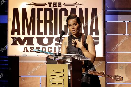 Rhiannon Giddens accepts the Legacy of Americana Award at the Americana Honors & Awards show, in Nashville, Tenn