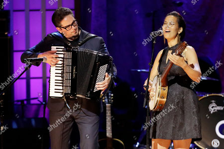 Francesco Turrisi, left, and Rhiannon Giddens perform during the Americana Honors & Awards show, in Nashville, Tenn