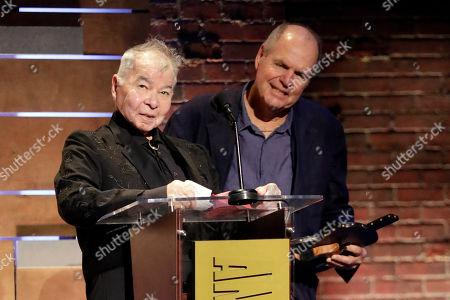 "John Prine, Pat McLaughlin. John Prine, left, and Pat McLaughlin accept the Song of the Year Award for ""Summer's End"" at the Americana Honors & Awards show, in Nashville, Tenn"