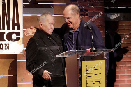 """John Prine, left, and Pat McLaughlin accept the Song of the Year Award for """"Summer's End"""" at the Americana Honors & Awards show, in Nashville, Tenn"""