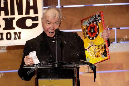"John Prine accepts the Album of the Year award at the Americana Honors & Awards show, in Nashville, Tenn. Prine won the award for ""The Tree of Forgiveness"