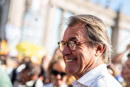 Stock Image of Artur Mas i Gavarro ex-president of Catalonia during a Pro-Independence demonstration as part of the celebrations of the National Day of Catalonia
