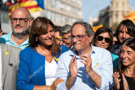 Joaquim Torra president of Catalonia during a Pro-Independence demonstration as part of the celebrations of the National Day of Catalonia