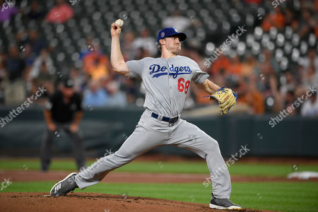 Los Angeles Dodgers starting pitcher Ross Stripling throws during the first inning of the team's baseball game against the Baltimore Orioles, in Baltimore