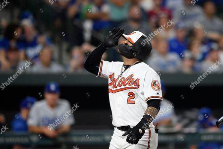 Stock Picture of Baltimore Orioles' Jonathan Villar celebrates his three-run home run during the seventh inning of the team's baseball game against the Los Angeles Dodgers, in Baltimore. Villar connected for the 6,106th homer in the majors this season. That topped the mark of 6,105 set in 2017. The Orioles won 7-3