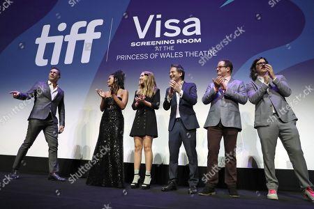 Brian C. Brown, Natalie Portman, Director Noah Hawley, Pearl Amanda Dickson, Jon Hamm, Zazie Beetz, Elliot DiGiuseppi, and Jeff Russo onstage