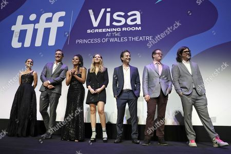 Brian C. Brown, Natalie Portman, Pearl Amanda Dickson, Jon Hamm, Zazie Beetz, Elliot DiGiuseppi, and Jeff Russo onstage