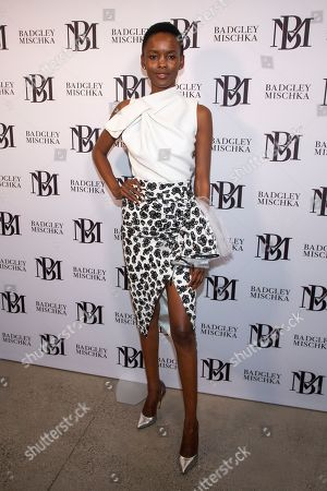 Flaviana Matata attends the Badgley Mischka runway show during NYFW Spring/Summer 2020 at Spring Studios, in New York