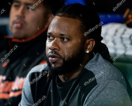 San Francisco Giants starting pitcher Johnny Cueto (47) hangs out in the dugout after his first game back last night after having Tommy John surgery, during a MLB game between the Pittsburgh Pirates and the San Francisco Giants at Oracle Park in San Francisco, California