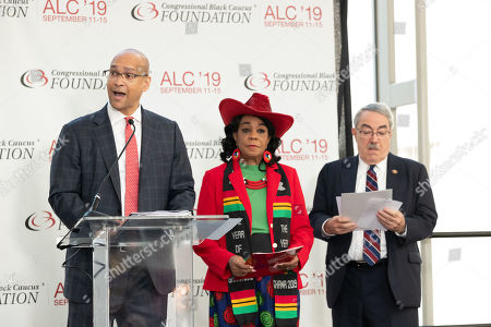(L-R) President/CEO of CBCF David Hinson, Congresswoman Frederica Wilson and Congressman G K Butterfield speak onstage at the Opening Press Conference