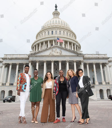 (L-R) Folake Olowofoyeku (Bob Hearts Abishola), Odetta Watkins (Warner Bros. TV Exec), Jessica Camacho (ALL RISE), Gina Yashere (Bob Hearts Abishola), Diana Mogollon (Stage 13) and Dawn-Lyen Gardner (Queen Sugar) pose for a photo on the steps of the United States Capitol