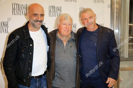 Argentinian director Gaspar Noe, left, pose with actors Philippe Nahon and Joe Prestia at Irreversible premiere in Paris, France. 2019/09/06. SIPA IMAGES//SOLAL_solal0089/1909071117/Credit:SOLAL/SIPA/1909071118