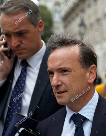 British lawmaker Alun Cairns Secretary of State for Wales in the British Government walks from the Cabinet Office in London