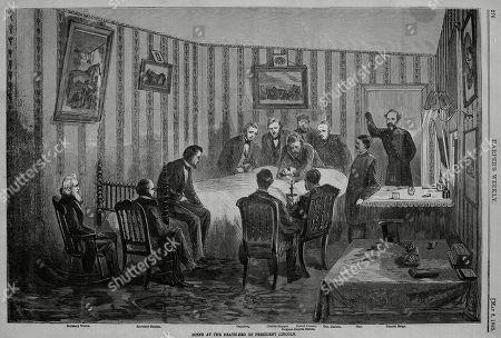 Scene at the deathbed of President Abraham Lincoln, April 15, 1865. L-R: Wells, Stanton, Sumner, Dennison, Surgeon Gen. Barnes, Robert Lincoln, Gen. Halleck, Hay, Gen. Meigs. Wood engraving in HARPERS WEEKLY, May 6, 1865