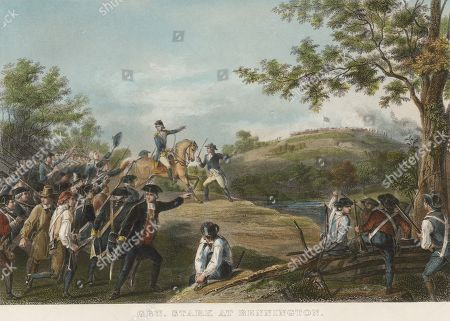 American Revolution, Saratoga Campaign, Battle of Bennington, August 16, 1777. Brig. Gen. John Stark of the New Hampshire Militia defeated a British force of 2,000. New England militia, defeated the 800 British foragers made up of Hessians, local loyalists and Indians, plus 200 reinforcements. The British lost 1000 fighters and gained no provisions, weakening it before the Battle of Saratoga. In spite of the battles name, it took place in Walloomsac, New York, because the British were blocked from their target, Bennington, Vermont