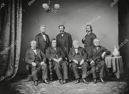 Impeachment Committee of the House of Representatives, conducted the impeachment of President Andrew Johnson, Feb. 1868. Seated L-R: Benjamin Butler, Thaddeus Stevens, Thomas Williams, and John Bingham. Standing, L-R: James Wilson, George Boutwell, John Logan
