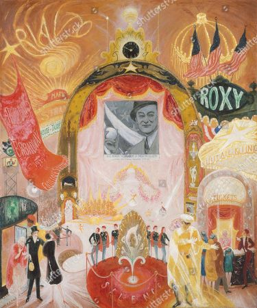 Stock Image of CATHEDRALS OF BROADWAY, by Florine Stettheimer, 1929, American painting, oil on canvas. Fanciful painting of neon-lit theaters, offering movies and theatrical performances. The Mark Stand Theater bills itself as the House of Talkies, and uniformed ushers add a touch of continental style. New York's Mayor Jimmy Walker throws out the first pitch of the baseball season in a cinema newsreel