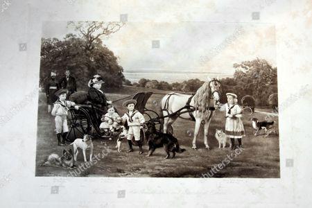 Print of Queen Victoria and her grandchildren