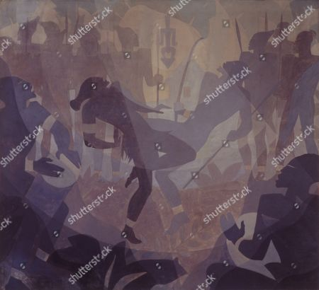 THE NEGRO IN AN AFRICAN SETTING, by Aaron Douglas, 1934, African American painting, oil on canvas. The four-panel series, ASPECTS OF NEGRO LIFE, was painted under the Public Works of Art Project (PWAP), for the New York Public Librarys 135th Street branch, the Schomburg Center for Research in Black Culture