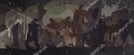 AN IDYLL OF THE DEEP SOUTH, by Aaron Douglas, 1934, African American painting, oil on canvas. The star on left was thought to be the North star, which guided escaping slaves. In 1971, the artist revealed it was his version of the red star of Communism to illustrate the hope that equality be attained through political change. The four-panel series, ASPECTS OF NEGRO LIFE, was painted under the Public Works of Art Project (PWAP), for the New York Public Librarys 135th Street branch, the Schomburg Center for Research in Black Culture