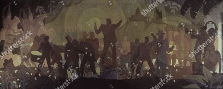 FROM SLAVERY THROUGH RECONSTRUCTION, by Aaron Douglas, 1934, African American oil painting. The central figure alludes to Emancipation and grabs the attention of the Cotton pickers, while threatening Klansmen approach from left. The four-panel series, ASPECTS OF NEGRO LIFE, was painted under the Public Works of Art Project (PWAP), for the New York Public Librarys 135th Street branch, the Schomburg Center for Research in Black Culture