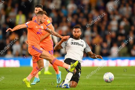 13th September 2019, Pride Park, Derby, England; Sky Bet Championship Football, Derby County vs Cardiff City ; Joe Ralls (8) of Cardiff City tackles Tom Huddlestone (44) of Derby County  Credit: Jon Hobley/News Images  English Football League images are subject to DataCo Licence
