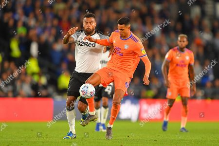13th September 2019, Pride Park, Derby, England; Sky Bet Championship Football, Derby County vs Cardiff City ; Robert Glatzel (9) of Cardiff City battles with Tom Huddlestone (44) of Derby County  Credit: Jon Hobley/News Images  English Football League images are subject to DataCo Licence