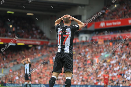 14th September 2019 , Anfield, Liverpool, England; Premier League Football, Liverpool vs Newcastle United ; Emil Krafth (17) of Newcastle United misses a close range shot on goal 