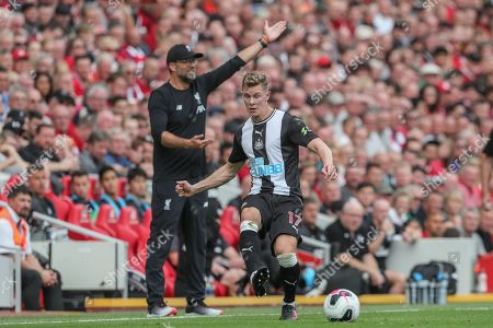 14th September 2019 , Anfield, Liverpool, England; Premier League Football, Liverpool vs Newcastle United ; Emil Krafth (17) of Newcastle United passes the ball 