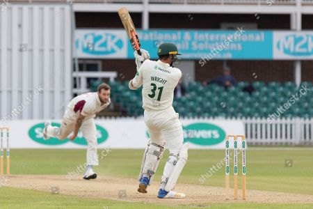 Chris Wright hits Doug Bracewell for 4 during the Specsavers County Champ Div 2 match between Leicestershire County Cricket Club and Northamptonshire County Cricket Club at the Fischer County Ground, Grace Road, Leicester