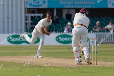 WICKET - Chris Wright has Brett Hutton caught behind during the Specsavers County Champ Div 2 match between Leicestershire County Cricket Club and Northamptonshire County Cricket Club at the Fischer County Ground, Grace Road, Leicester