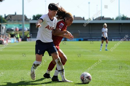 Ashleigh Neville of Tottenham Hotspur Women and Jessica Clarke of Liverpool Women in action during the Barclays WomenÕs Super League match between Tottenham Hotspur Women and Liverpool Women at The Hive Stadium in London, UK - 16th September 2019