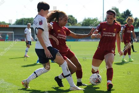 Ashleigh Neville (L) of Tottenham Hotspur Women and Jessica Clarke (C) and Leighanne Robe (R) of Liverpool Women in action during the Barclays WomenÕs Super League match between Tottenham Hotspur Women and Liverpool Women at The Hive Stadium in London, UK - 16th September 2019