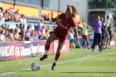 Jessica Clarke of Liverpool Women in action during the Barclays WomenÕs Super League match between Tottenham Hotspur Women and Liverpool Women at The Hive Stadium in London, UK - 16th September 2019