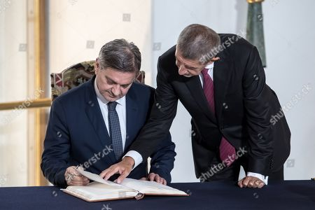Czech Prime Minister Andrej Babis (R) welcomes Chairman of the Council of Ministers of Bosnia and Herzegovina Denis Zvizdic (L) during the Visegrad Group (V4) and Western Balkan partners summit in Prague, Czech Republic, 12 September 2019.