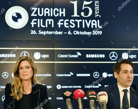 Nadja Schildknecht (L) and Karl Spoerri directors of the Zurich Film Festival present the program of the 15th edition of the festival during a press conference in Zurich, Switzerland, 12 September 2019. The festival will run from 26 September to 06 October.