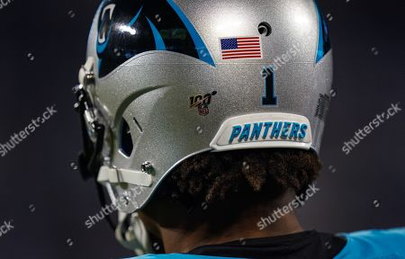 Detail of the helmet of Cam Newton, Quarterback of the Carolina Panthers (1)