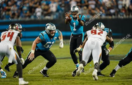Cam Newton, Quarterback of the Carolina Panthers (1), in action