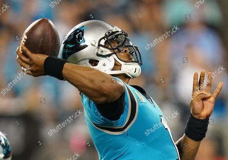 Cam Newton, Quarterback of the Carolina Panthers (1), throws the ball
