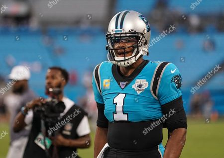 Cam Newton, Quarterback of the Carolina Panthers (1), on the field before kick-off