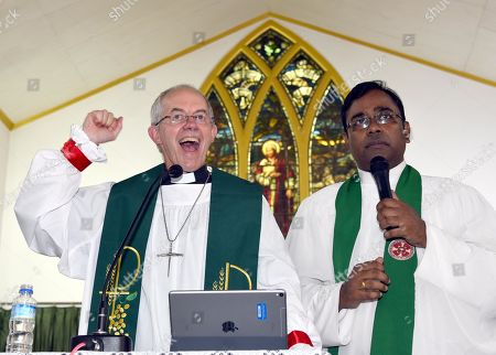 Archbishop of Canterbury Revd Justin Welby addresses the audience during his visit, at Christ Church Cathedral, Ram Bagh