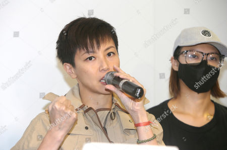 "Hong Kong singer Denise Ho calls on Taiwanese people to take part in the ""hold Hong Kong, anti-totalitarian"" march on September 29 during a press event to support Hong Kong pro-democracy activity in Taipei, Taiwan"