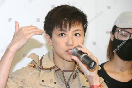 "Danise Ho. Hong Kong singer Denise Ho calls on Taiwanese people to take part in the ""Hold Hong Kong, anti-totalitarian"" march on September 29 during a press event to support Hong Kong pro-democracy activity in Taipei, Taiwan"