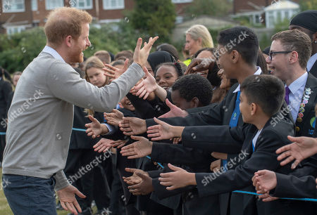 Prince Harry visits Lealands High School as part of the Rugby Football Union (RFU) All Schools programme
