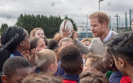 Stock Photo of Prince Harry visits Lealands High School as part of the Rugby Football Union (RFU) All Schools programme