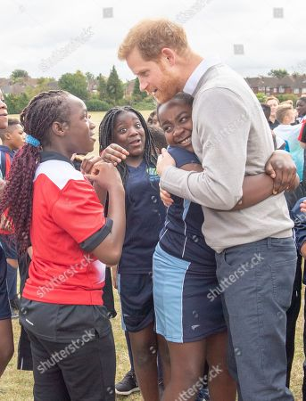 Stock Image of Prince Harry visits Lealands High School as part of the Rugby Football Union (RFU) All Schools programme