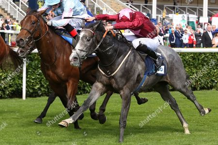 GRACEFUL MAGIC (5) ridden by Charles Bishop and trained by Eve Johnson-Houghton winning The British Stallion Studs EBF Carrie Red Fillies Nursery Handicap Stakes over 6f (£50,000) during the second day of the St Leger Festival at Doncaster Racecourse, Doncaster