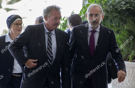 Luxembourg Foreign Minister Jean Asselborn (L) and his Jordan counterpart Ayman Safadi arrive at the Foreign Ministry in Amman, Jordan, 12 September 2019.