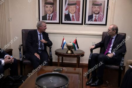 Luxembourg Foreign Minister Jean Asselborn (L) speaks with his Jordan counterpart Ayman Safadi during a meeting at the Foreign Ministry in Amman, Jordan, 12 September 2019.